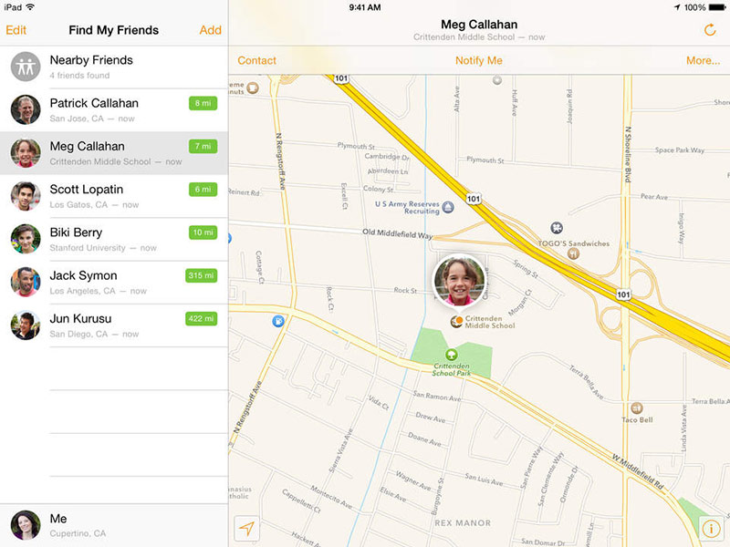 Find my Friends for Apple devices